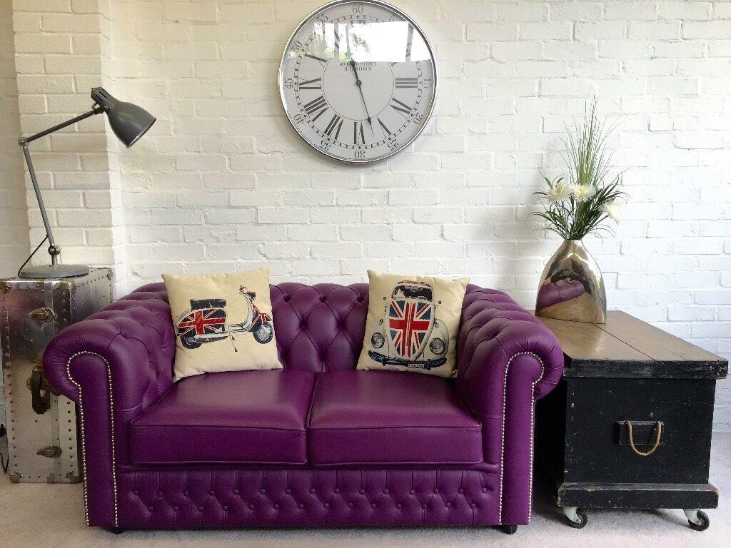 Unusual Purple Chesterfield Sofa Saxon As New Can Deliver