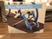 Blue motion pro cycle trainer with magnetic break and handlebar resistance lever