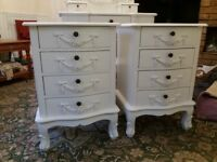 Dunelm Toulouse furniture. 4 drawer chest of drawers. 2 bedside cabinets and dressing table set