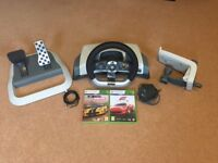 Official Microsof Xbox 360 Racing Wheel and two games