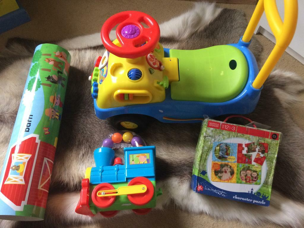 Ride on truck, train, puzzle, poster. Baby toddler toys bunch