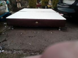 double leather bed base with mattress