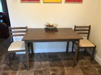Brown table and 2 x chairs
