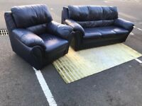 Navy 3-Seat Sofa and Chair (@07753751518)
