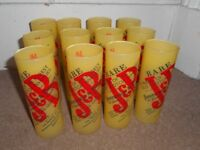 J&B Scotch whisky yellow glasses £1.50 each or 12 for £12 (36 available)