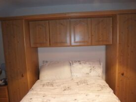 Pine Overbed Unit with Wardrobes
