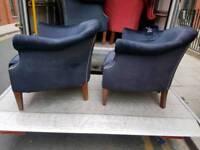 Chairs - Quality Extra Comfy Dark Blue Velvet Fabric