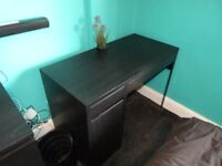 ikea MICKE black desk with drawer ideal for computer or gaming, cost £60