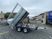 BRAND NEW MODEL 8X5 TRAILER DOUBLE AXLE 1 WAY ELECTRIC TIPPER WITH 80CM MESH 2700KG in Fife