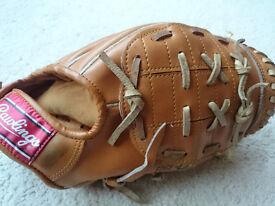 Rawlings baseball glove and ball