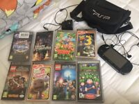 PlayStation psp console and 8 games