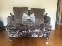Crushed velvet silver sofa and armchair