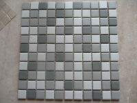 Grey and white mosaic porcelain tiles