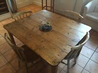 Antique Pine Table and 4 Chairs