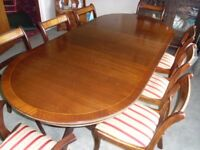 Regency Reproduction Dining Table and 8 Chairs