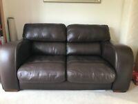 John Lewis 'Granada' brown leather sofa