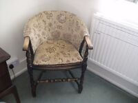 Light Brown Patterned Dralon Wooden Chair