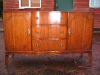 Vintage mid-20th century antique sideboard with three drawers and two cupboards, in Georgian style