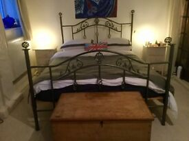 SOLD SUBJECT TO COLLECTION King Sized bed with Metal Frame and Wooden Slatted Base