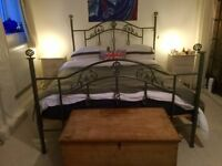King Sized bed with Metal Frame and Wooden Slatted Base