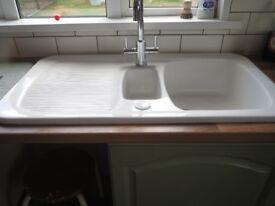 Ceramic Kitchen sink with 1.5 bowls