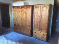Solid pine double and single wardrobes and blanket box for sale