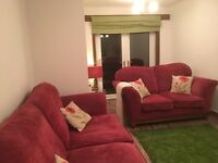 Lounge suite with rug, blinds, lamps etc