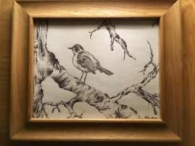 Oak framed bird picture/art
