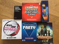 Cards Against Humanity, Trivial Pursuit, The Really Nasty Horse Racing Game, Pandemic, Perudo