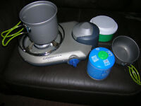 handy gas burner for the bivvy, pan and cup, spare gas, stove has its own case. + more