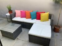 Patio grey rattan corner sofa with coffee table