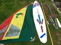 Red Merlin 12ft Windsurf with sail etc