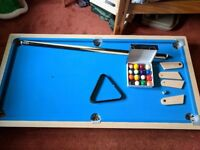 Riley 5 ft pool table (for on a table) plus balls, 2 cues, triangle
