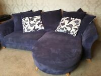 Fabric purple sofa and matching chair & footstool. Excellent condition. £500 for quick sale