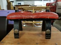 Wooden Stool with Red Leather Top and Black Wooden Legs