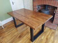 New Handmade Farmhouse Reclaimed Dining Table 160cm x 88cm available every size Dark Oak