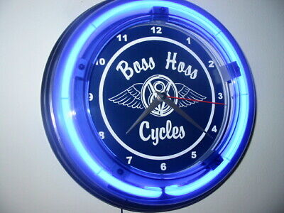 Boss Hoss Motorcycle Garage Advertising Man Cave Blue Neon Wall Clock Sign