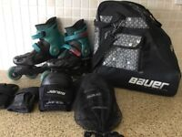 Bauer In Line Skates Size 4 and accessories