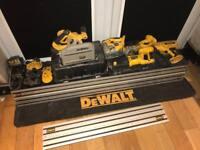 DeWalt 18v Cordless Tool Job Lot saws, grinder, angled finishing nail gun, guide rails
