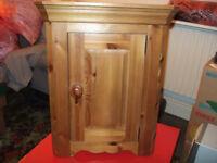 Antique pine corner wall cabinet.