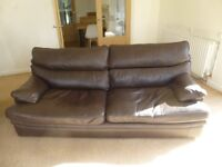 G Plan Brown Leather Sofa and Matching Chair