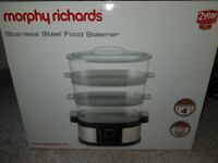 Morphy Richards stainless steel food steamer brand new in box unopened