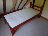 """child's pine bed frame and mattress 4'9"""" long 2'6"""" wide"""