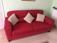 Red Dfs 2 & 3 Seater Sofas. From A Smoke, Pet & Child Free Home