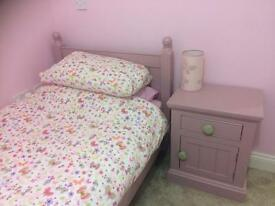 girls pink solid wood bed with maychibg bedside chest £100 ip4