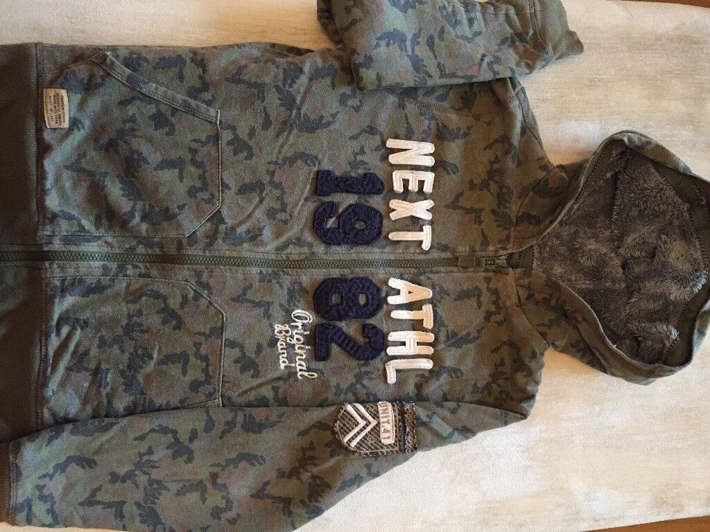 Hoodie jumper Next age 12 camouflage green and blue