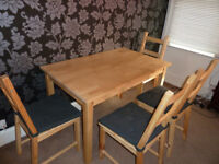 Wooden Dining Table & 4 Chairs, £50
