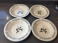 Pasta plate bowls big dishes x 4 four