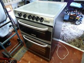 Canon Gas Cooker, 55cm, double oven, 4 burners black with silver handles in VGC.