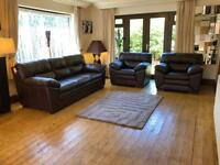 6 Months Old- Brown Leather 3 Seater Sofa + 2 Armchairs Cost £1500